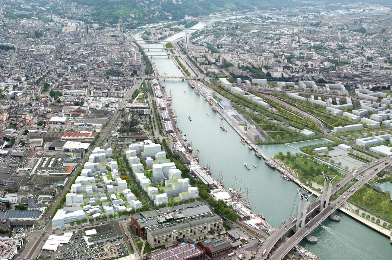 Photo aérienne d'une projection urbaine