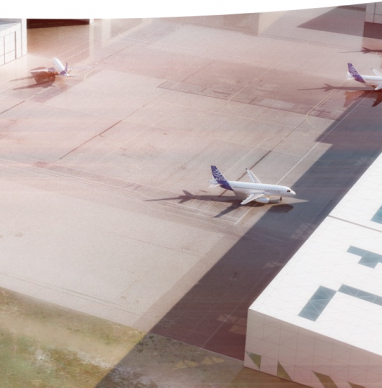 Photo aérienne hangars avions